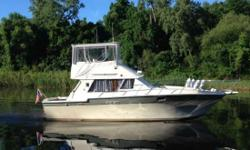 """This version of the Convertible was Silverton's most popular seller , ever, with great floor-plan, plenty of c ockpit area and good performance. The 34' Convertible features twin T- 270 HP Crusaders engines, fiberglass hull, 12' 6"""" beam, providing a large"""