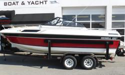 PRICE JUST REDUCED TO $4,995! OMC 5.7L engine, no hour meter SEI 16 sterndrive Metal Craft 2-axle trailer w/surge brakes & side guides Convertible top Full storage cover VHF radio CD player Interphase Echo 220 fish/depth finder (2) Back-to-back fold-down