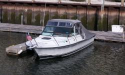 This sweet 24 1988 Rampage Express Soft Top powered with a gasoline Volvo 260 BB with electronic ignition, fresh water cooled, 1050 hours. Moored in Stamford CT, this is the third owner, all original manuals and records are available. Unusual for an older