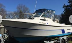 "1988 Aquasport Express Fisherman This 22' Walk-around is the ""all-around"" boat. It's got a clean v-berth with porta-potti. Yamaha SX225 with only 500 plus hours. Good boat for a great price! Beam: 8 ft. 0 in. Hull color: WHITE Standard features: 2001"
