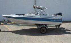Very clean and has been stored indoors! 1988 Bayliner 1500 BR equipped with Force 50 hp outboard motor. Boat include bimini top, rear ladder, radio w/ 2 speakers and single axle trailer. 4 person capacity. Please call before coming to view as our