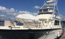 1988 Hatteras 55 Convertible Sportfish located in Jacksonville, FL Rare offering of a 55 with Full Tower.  Detroit Diesel 12V71TA's.  GPS, chartplotter, autopilot, radar, fish finder, VHF. Three stateroom, three head, galley up configuration.