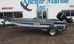 1988 Venture Tournament Series, 1988 Mercury 115 ELPTO, Brute Motor Guide 12/24V 50lb Thrust, 4 Seats, Back Storage, Back Live/Bait Well, Front Live/Bait Well, Side Storage, 1988 Lifetime Trailer with Load Guides - 1988 Ventrue Nominal Length: 17'