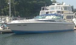 1988 Sea Ray Express Cruiser 390 EC *PRICE NEWLY REDUCED TO $24800* The Master Stateroom is forward with an Island queen berth. There is an overhead hatch and opening ports for ventilation. On the port side is a huge head with stall shower. Across on