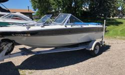 Excellent starter boat for someone looking to get out on the water. Upgraded swim platform. Hull storage for skis Comes with Garmin depth finder Bimini Top Interior in excellent condition Lightweight and easy to tow Trades considered. CANVAS BIMINI TOP