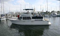 This is the cockpit version of the popular Tollycraft 40 Sundeck incorporating classic Tollycraft lines and deluxe accommodations. Interior highlights include solid teak joinery, sliding salon deck door, and entertainment center. Dependable Caterpillar