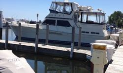 Very clean and well-maintained 44' Viking. Boat has recent upgrades and is priced to sell. Trades considered. ACCESSORY ANCHOR W/LINES FENDERS & LINES CABIN AIR CONDITIONER - CABIN: 3 CHERRYWOOD SLEEPS: 6 STATEROOM: 2 CANVAS AFT DECK ENCLOSURE AFT DECK