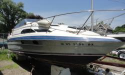 One owner! This 1989 Bayliner Ciera Sunbridge 2455 is powered by a 5.8 OMC Cobra engine, and it also includes 2 props, shorepower, depth finder, radio, anchors, bathroom, bimini top with zipped curtains, stove, refrig and sink Beam: 8 ft. 0 in. Depth fish