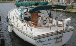 """Easy to Sail, Comfortable Accommodations,Quality Construction Be sure to watch the walk-through video above! """"Nine Lives"""" is a very nice example of what Hinterhoeller used to refer to the as """"the greatest thirty-foot sailboat of all time"""". She has"""