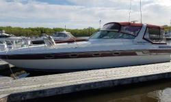 The 1989 Regal 360 Commodore has a large cockpit with plenty of seating. The salon features a galley with full-size refrigerator and freezer, large dinette that converts to a double berth and a separate entertainment center. Private berths are located