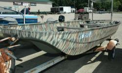 All camouflaged and ready for hunting or use it as a fishing boat or both. At this price it is the boat only. - 14' Fiberglass Tri-Hull Row Boat Nominal Length: 14' Stock number: WS8563JD