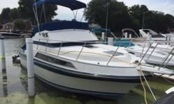 Full beam interior maximizes space aboard. Good engine access via cockpit hatches. Economical way to get into Marina boating. Trades considered. CANVAS BIMINI TOP (BLUE) BRIDGE ENCLOSURE DECK ANCHOR W/LINES BOW PULPIT W/RAIL ELECTRICAL 12 VOLT SYSTEM 30