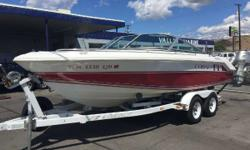 Price Reduction This boat is a very clean boat and offers a solid performance. The boat is powered by a Volvo Penta V8 (275hp) motor. The options on the boat include a depth finder, bow/cockpit covers, sun top with side curtains and a trailer with a spare