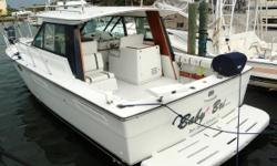 Current owner is down-sizing and eager to find Baby Bri's next owner. Powered by Twin 454 Mercruisers Port Engine Rebuilt 8 Years ago, Starboard Engine New Block 2015 Standard Horizon CPV550 - GPS/VHF Bennett Trim Tabs Electric Windlass Kohler