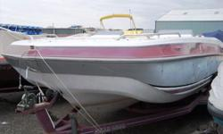 Fun trailerable deckboat! This is powered by a 4.3L OMC V6. It has the room of a pontoon but the power to pull tubers and skiers. For more information call us today at 800-875-2620 or view Michigan's largest selection of boats direct only at