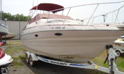 THIS FRESH BROKERED BOAT IS POWERED WITH A 5.7L MERCRUISER I/O. INCLUDES FACTORY SHORE POWER, VHF RADIO, FISH/DEPTH FINDER AND TANDEM AXLE TRAILER. AFFORDABLE POCKET CRUISER READY TO GO BOATING! Stock ID: BB110191Specs Length Overall (LOA): 23' Category: