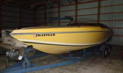 24' of fun Beam: 8 ft. 2 in. Standard features: includes tandem axle trailer, cockpit cover, bimini top, cuddy cabin, hydraulic sundeck