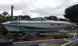 1991 Baja Marine 260, Located in Nokomis, FL. Call Coastal Marine for more information. One owner very low hours With Mercruiser 7.4 motor, stainless prop, hydraulic trim tabs, bimini, cockpit covers, motor cushion, rear bench seat, dual captain's chair,