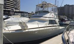 Boat shows well with a few cosmetic issues on interior soft goods.  (call for details) Diesel Engines run great  Low Hours Generator Heat and Air Up-dated electronics Out Riggers Swim step Large Bait Tank New Flybridge Canvas and Enclosure