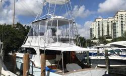 1991 61 Buddy Davis convertible with 3/3 layout. Major refit. Rebuilt 16V92, New Garmin electronics & auto pilot, New teak in cockpit & bridge, new wiring, LED lighting, new carpet and all new soft goods throughout the boat, Mezzanine in cockpit,