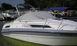 Nice one owner boat ready for a new owner to enjoy. Beam: 8 ft. 6 in. Fuel tank capacity: 72 Water tank capacity: 18 Compass; Depth fish finder; Stove; Boat cover; Vhf radio; Stereo; Bimini top; Shore power; Gps loran; Fridge; Swim platform;