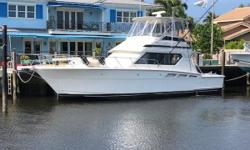 Well maintained 46' Hatteras with several upgrades and updates. She offers a two-stateroom, two-head floor plan has a spacious salon for entertaining. The cockpit is complete with all the amenities including (2) live wells, a fish box, Bluewater fighting