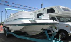 This 1992 Hurricane 23' Deck is in great condition! It has a 5.7 LTR 250 HP Alpha1 Engine. More information coming up very soon. Come on down to check it out! Beam: 8 ft. 6 in. Hull color: White/Teal Stock number: 7710 Stereo; Bimini top;