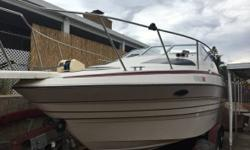 1992 Maxum 2300 SCR Maxim 1992 (2300SCR). Mercury Cruiser 350 260 hp. Refrigerator stove and kitchen sink lots of storage deck and cabin tables removable. Aft cabin with Queen size bed Forward cabin converts to V birth Has refrigerator sink. Bathroom