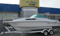 Features: Volvo Penta 5.7 260HP Dual Prop Outdrive Stainless Steel Props Bimini Top Cockpit Canvas AM/FM Stereo Remote Control Spotlight Transom Shower Cabin w/ Sink and Table Enclosed Marine Head Removable Front Bow Deck Cushion Rear Bench Seat Slides