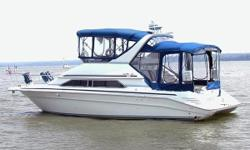 BROKERAGE BOAT - FRESH WATER BOAT - ONE OF A KIND Always Covered Walk Through Bridge Meticulous Service History Shows and Runs Outstanding Bow Thruster Dual Flow Scan Metering Two Garmin Color Chart Plotters Radar Depth Finder Bimini Top w/ Bridge and