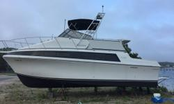 1993 Carver Mariner 330 This power boat is in excellent condition 35ft long Fiberglass White exterior and interior T270 Crusaders V drives AC 540 Horsepower 100 Engine hours New interior Many new parts Generator AM FM Anchor Bimini Compass Depth Head