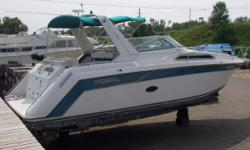 The 1993 Regal 300 Commodore has a large cockpit with bench seating at the helm and along the transom. The salon features a dinette and full galley with microwave, refirgerator and alcohol/electric stove. The large forward berth has plenty of storage