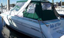 NEW CANVAS AND ENCLOSURES. NEW AC/HEAT 16K BTU UNIT. NEW FLAT SCREEN TV. This is one excellent performing boat. The 34'a solid fiberglass construction and deep V hull is one great ride. This boat has been well maintained ...the photos show it....New