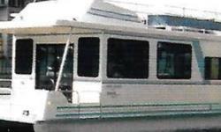 1993 Catamaran Cruiser 35 Houseboat 12 x 35 Houseboat which sleeps six 90 HP Nissan Motor 4 KW W Onan Generator 13000 BTU air conditioning Propane furnace with blower 30 Amp dockside power plug-in 100 Gallon fresh water capacity 12110-volt electric