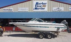 We have a nice running fishing pleasure boat on a dual axle trailer. She is ready for the next trip with you as Captain. A lot of boat for a small price! Factory Description: Whether the plan is fishing, skiing, diving or just cruising, the entire family