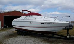 This is a well matained and cared for boat. It comes with a double axle trailer and is powered with 5.7 Volvo 260 HP motors with the Duo Prop set up. The motors have about 740 hours. This boat will be ready to go. Beam: 8 ft. 6 in. Compass; Depth fish