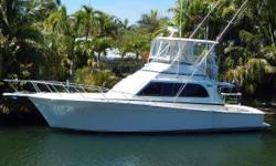 This 42 Convertible appears in excellent condition. She is a nicely equipped and updated proven fish raiser, with large cockpit and comfortable roomy interior layout. Her notable features include:  Custom padded swivel helm seats Flybridge