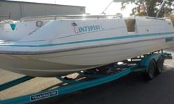 For sale is a 1994 Hurricane Deckboat. This big 24' deckboat has plenty of room for a lot of people. It is powered by a 1994 Yamaha Sterndrive (I/O). It also comes with a tandem axle custom trailer and full mooring cover. Beam: 8 ft. 6 in. Hull color: