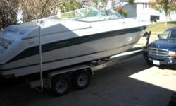 1994 Regal 8.3 Ventura SC Cuddy with (new in 2014) Volvo 454 coupled to a Duoprop sterndrive with stainless steel props sitting on a 2006 Loadmaster aluminum trailer with brakes and torsion axles. This boat is 1/2 ton towable. Features and options include
