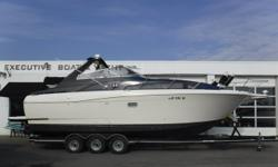 THIS BOAT IS A BANK REPO! Twin MerCruiser 454 cid engines, aprx 632 hours Twin Bravo III dual-prop sterndrives w/stainless steel props Heritage 3-axle trailer w/electric brakes, custom rims, aluminum step plates & spare tire (5) Batteries w/switches
