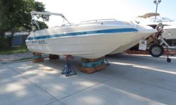 This fresh water boat is located on beautiful Lake Ozark in MO. She has a 5.0L Mercruiser, Large sun pad, Head for a port-a-potty,and large Bimini top. Upholstery is in excellent condition.This boat will handle the rough water very well. Only 650 hours of