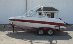 1995 Four Winns 200 Horizon powered by a 5.0 OMC Cobra Fuel Injected Engine. Equipped with tower, tower racks, tower mirror, Wet Sounds tower speakers, Custom Cover, Humminbird Depth Gauge, Upgraded stereo with 4 interior speakers and subwoofer, and perko