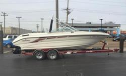 1995 Mariah 240 TalariMercruiser 7.4L Bravo 1 310hpHeritage custom tandem trailerSpare tireDrum brakesSS PropBow coverFull canvas enclosureFull mooring coverWakeboard towerWakeboard rackDouble Bimini topStainless steel bow railsBow filler cushionsAnchor