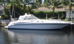 The Sea Ray 45' Sundancer offers plenty of room inside as well as plenty of seating in the cockpit area. With the two cabins and two heads and the main salon this boat can sleep 5 to 6 people in air conditioned comfort. Her bold styling has held up