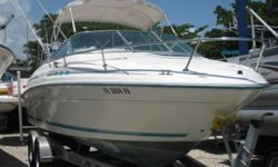 1996 - Sea Ray Boats - 215 Express Cruiser This boat has been very nicely maintained by it's owner. Powered by a 5.7L 250hp Mercruiser this boat is ready to go! Great seating, very clean, full eisenglass enclosure, enclosed porta potty, sink, lots of