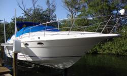 1996 Cruisers Yachts 3120 Aria 520 HP from twin  5.7L counter-rotating motors and Alpha one, Generation II out-drives. 10' beam, fridge and ice-maker both in cockpit. Wrap around seating, walk-thru windshield, private head and full galley below. No