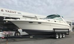 Twin MerCruiser 454 cid 7.4L V8 engines, aprx 268 hours Twin MerCruiser Bravo I sterndrives w/stainless props Metal Craft 3-axle trailer w/electric brakes, side guides & spare tire Extra set of stainless props Electric engine hatch (4) Batteries