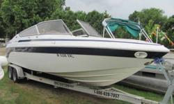 """This 27' 1996 open bow Cobalt """"272 RB"""" is powered by a 330hp Volvo, and has a tandem axle trailer. Includes porta potty in changing room and a cover. Great condition! Beam: 8 ft. 6 in. Stock number: 9891"""