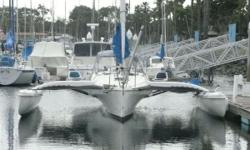 Snow Snake is a high performance cruising trimaran and day sailor equipped with a folding system which allows it to be easily trailerable and easy to store. This aft-cockpit Corsair 31 seats 6 passengers comfortably. The winches, halyards, sheets and