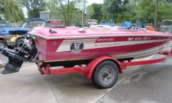 This is the 16 Classic 30th anniversary edition. The engine is a 5.7 Mercruiser with 400 + horsepower. The trailer is an Eagle custom single axle. The boat has trim tabs, a cobra scoop and extra interior pieces. Beam: 6 ft. 11 in. Hull color: Red